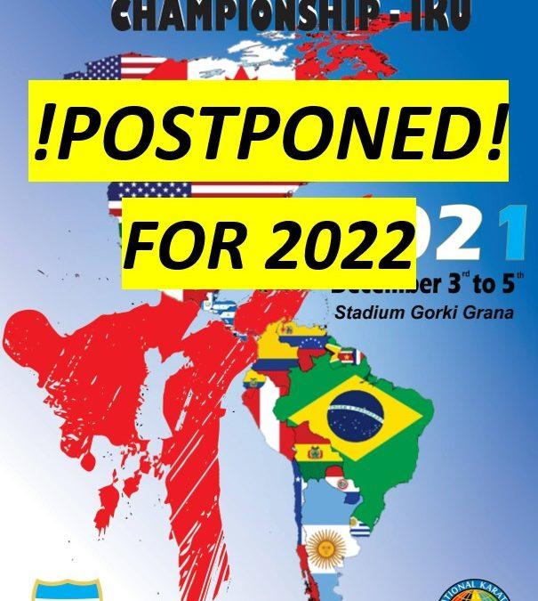 The 2021 PANAMERICAN championship – POSTPONED!